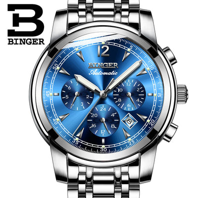 BINGER Mens Moon phases Automatic mechanical Watches