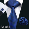 Barry Wang Designer Ties For Men Blue Fashion Woven Neckties Hanky Cufflinks