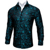 Barry.Wang Teal Paisley Floral Silk Long Sleeve Casual Flower Shirts Designer Fit Dress Shirt