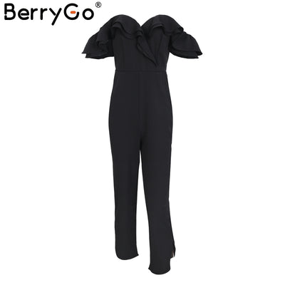 BerryGo Sexy backless off shoulder black jumpsuit romper Split casual overall