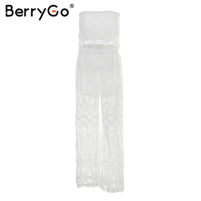BerryGo Sexy two-piece lace rompers womens jumpsuit Strapless split white jumpsuit