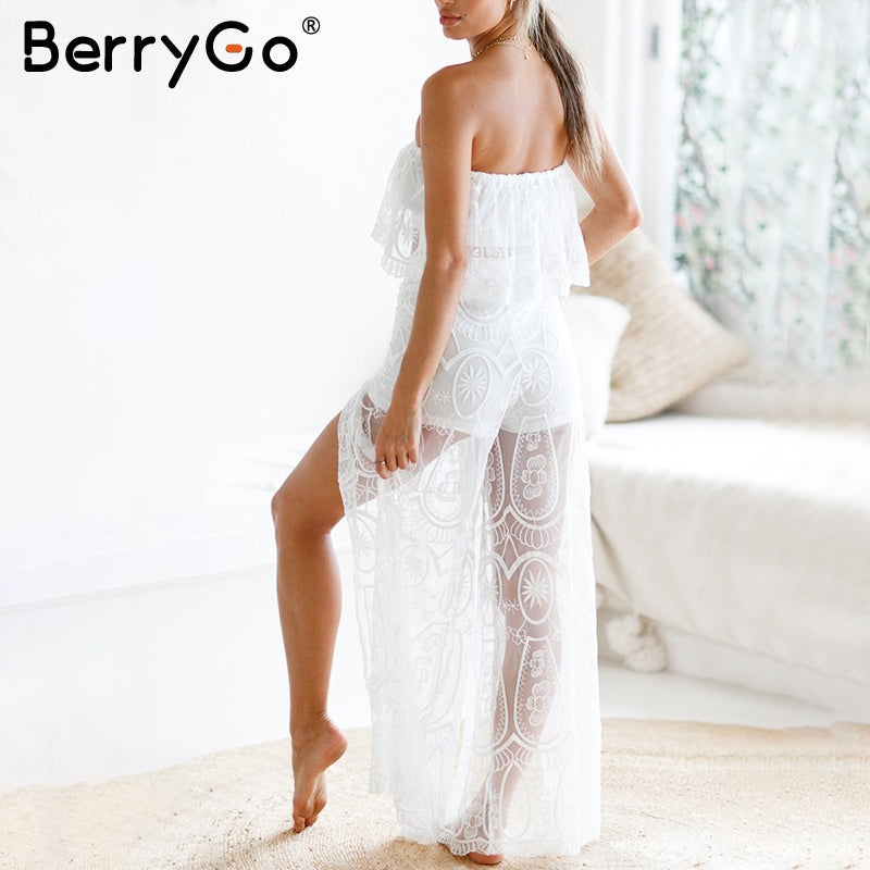 Berrygo Sexy Two Piece Lace Rompers Womens Jumpsuit Strapless Split