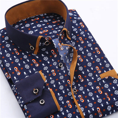 Men Dress Shirt Long Sleeve Slim Fit Button Down Collar