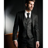 Black Harringbone Men Suits Three Piece Custom Jacket Pants Vest Blazer