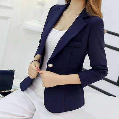 Blazer Sleeve Long Business Office Suit Jackets Blue Purple Gray
