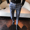 Blue Plaid Pants Men's Skinny Formal Trousers