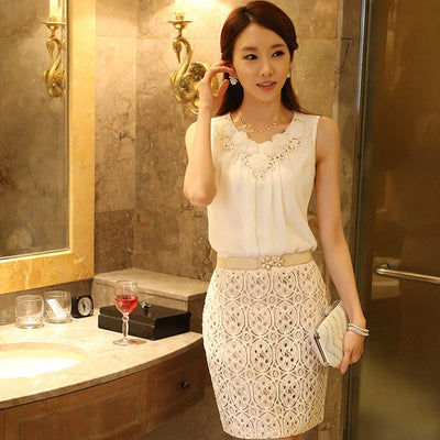 Women Blouses Tops White Sleeveless Chiffon Shirt Ladies