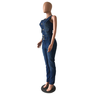 Bodycon Casual Backless Denim Bodysuit Solid V Neck Overalls