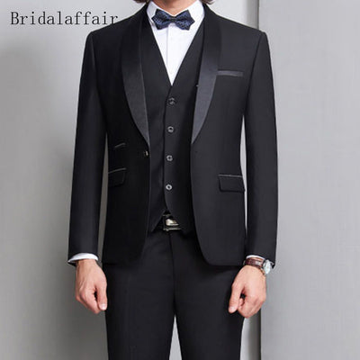 Bridal affair Black Formal Men Suit Slim Fit 3Pcs