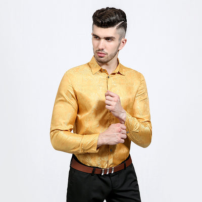 Bright Silk Shirts Men Long Sleeve Casual Cotton Flower Shirts