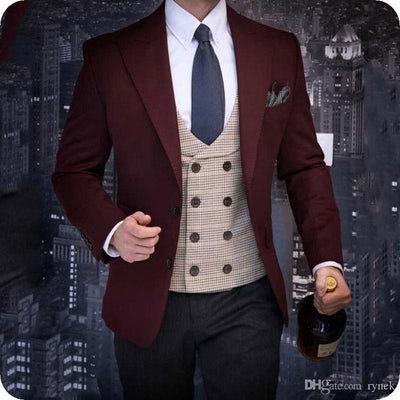 Burgundy Groom Tuxedos Wedding Blazers Shawl Lapel Two Pieces Black Groomsmen Suits C(Jacket+pant)