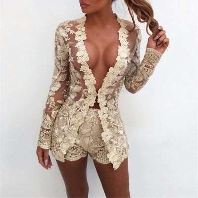 COSYGAL Sexy Gold Lace Embroidery 2 Piece Set shiny See Through Summer Floral Club Outfits