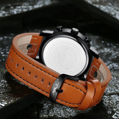 CRRJU Creative Quartz Watch Leather Chronograph Army Military Sport Watches