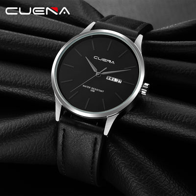 CUENA Quartz Watches Men Date Week Black Genuine Leather Strap 30m Waterproof