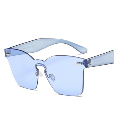 Candy Color Cat Eye Clear Lens Big Frame Shades Acetate Eyewear One Piece Rivet Sexy Sun Glasses