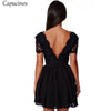 Capucines Sexy Black Deep V-Neck Lace Patchwork