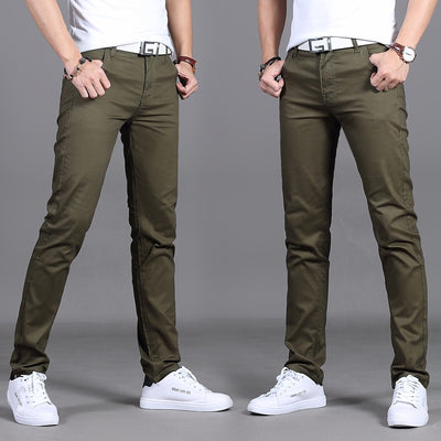Casual Men Cotton Slim Straight Trousers