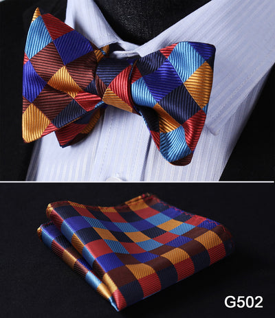Check Polka Dot Silk Butterfly Self Bow Tie Pocket Square