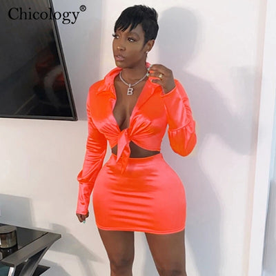 Chicology silky satin 2 two piece set lace up long sleeve crop top high waist mini skirt clothes