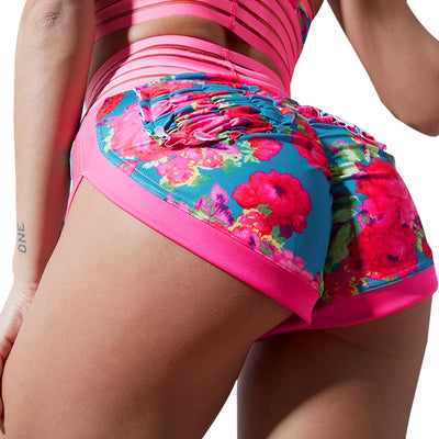 Chrleisure High Waist Booty Print Sexy Hot Spandex Mini Lace Skinny Short