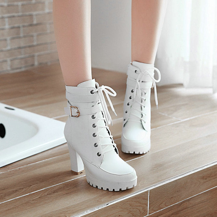 Chunky Ankle Lace Up Fall Winter