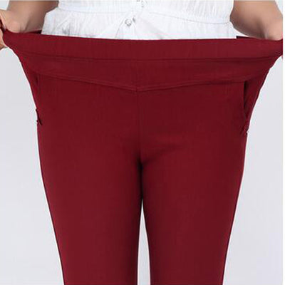 Clobee  capris High Waist Stretch Pencil pants Skinny Trousers Plus Size 6XL