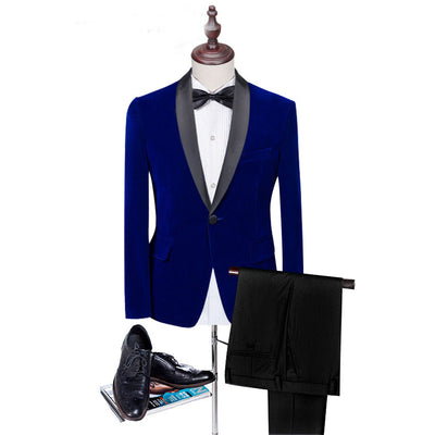 Groomsmen Suit W/ Pants Slim Fit Wedding Groom Tuxedo Velvet Suit