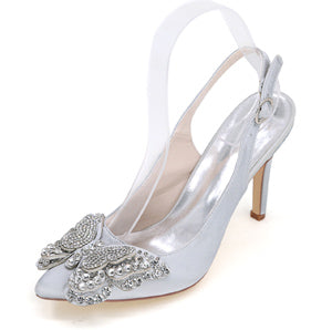 Creativesugar Pointed toe slingback satin with rhinestone butterfly charm