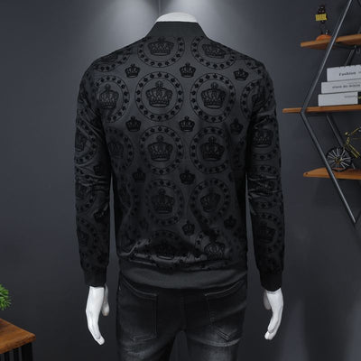 Crown Vintage Slim Jacket Men Club Outfit Bomber Black Print Jacket