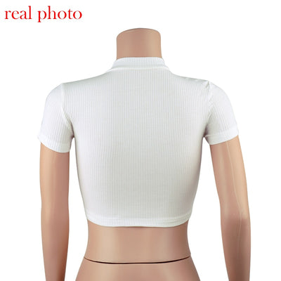 Cryptographic Standing Collar Zipper Striped Crop Tops Slim Solid Sexy Tops Short Sleeve