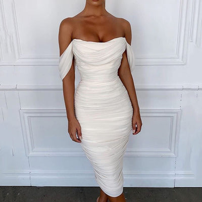 Cryptographic Off Shoulder Sexy Backless Mesh Ruched White Elegant Midi Strapless Bodycon Dress