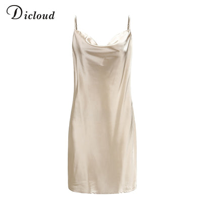 DICLOUD Sexy Champagne Satin Sleeveless Summer Sundress A Line Solid Bodycon Dress