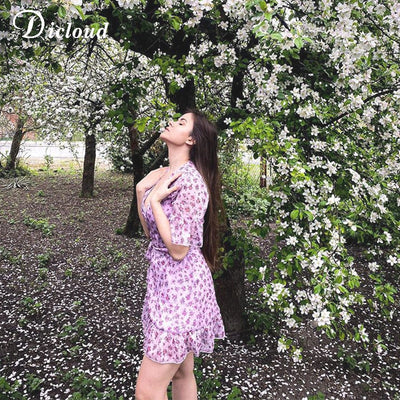 DICLOUD Lilac Floral Wrap Elegant Flare Sleeve Boho Print Mini Sundress Sexy V Neck Clothes