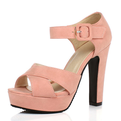 DRFARGO Butterfly Knot bow Ankle strap Thick high heel Sandals