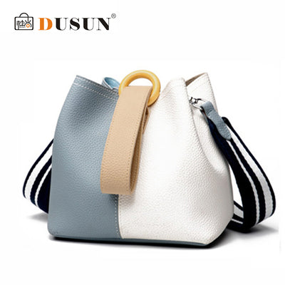 DUSUN Genuine Leather Bucket Bag Fashion Handbag Cow Leather Shoulder Bags