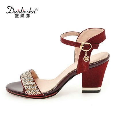 Daidiesha Elegant Purple Crystal Sandals Thick High Heels Shoes