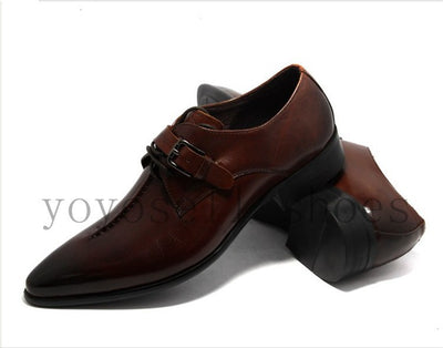 Deep coffee color /Dark yellow/ black mens business dress shoes genuine leather
