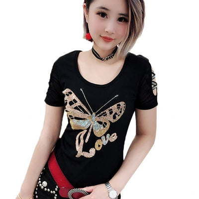 Diamonds Butterfly O-Neck Hollow Out Short Sleeve Top Shirt Streetwear Black blouse