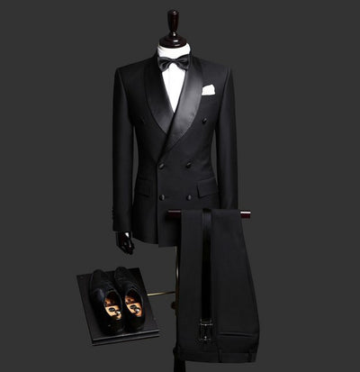 Double Breasted Suit Men Burgundy Jacket Black Pant Dinner Wear Suits