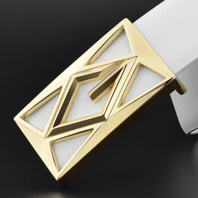 Double G letter buckle Metals White genuine leather luxury brand Casual Waistband