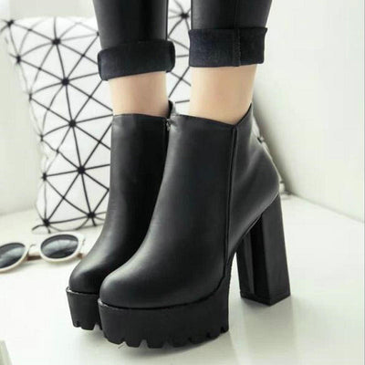 separation shoes bca0f 1b0d9 Sexy Ultra High Heels Round Toe Martin Thick Heel Platform Women Shoes  Ankle Boots