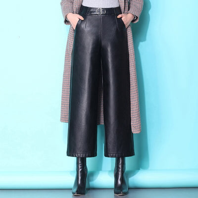 [EWQ] High Waist Trend All-match Nine Pants Korean Style Loose Black Pu Pants