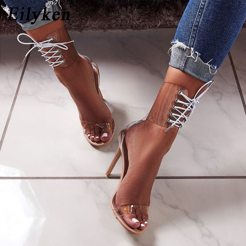 151a823652a Eilyken PVC Jelly Lace-Up Sandals Open Toed High Heels Transparent Sandals  11CM