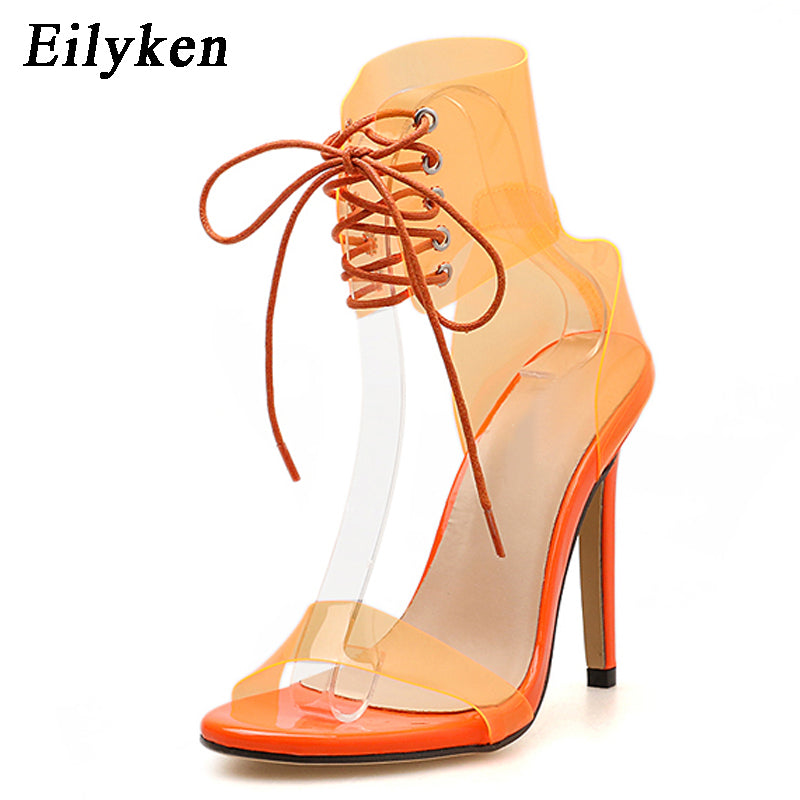 58a1d9c8712 Eilyken PVC Jelly Lace-Up Sandals Open Toed High Heels Transparent Sandals  11CM