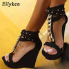 Eilyken Gladiator High Heels Sandals Chain Platform Wedges shoes For Women