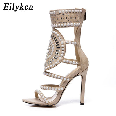 Eilyken Open Toe Rhinestone High Heel Sandals Crystal Ankle Wrap Diamond