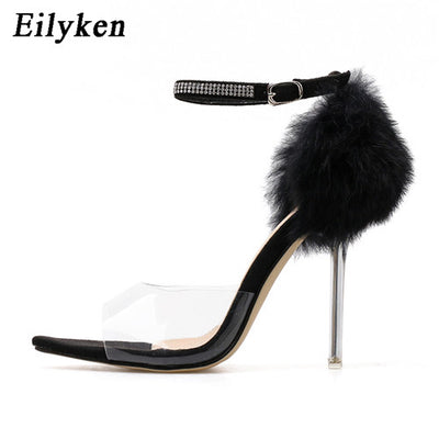Eilyken Sexy PVC Transparent Rhinestone Buckle Pointed Open Toe Crystal Heel Sandals Shoes Size 42