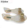 Eilyken Bling Bowtie Jelly Peep Toe Sandal Crystal Flat Shoes