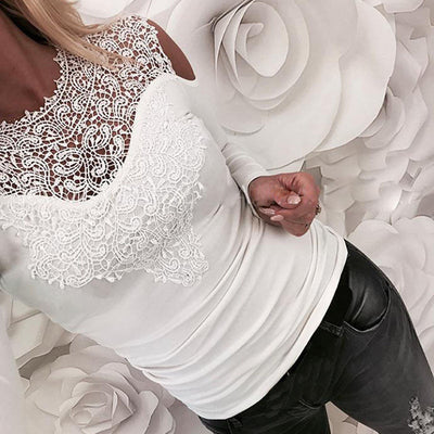 Elegant Lady Lace Long Sleeve Hollow Leotard Tops Solid Flower Blouse
