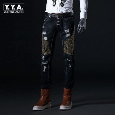 Embroidery Korean Slim Hole Denim Pants Vintage Sequins Trousers Middle Skinny Jeans Man